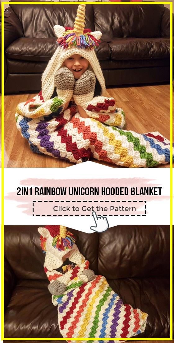 crochet 2in1 Rainbow Unicorn Hooded Blanket easy pattern ...