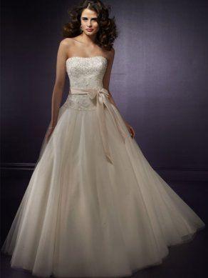 Ivory Strapless Tube Designer Princess Wedding Dresses