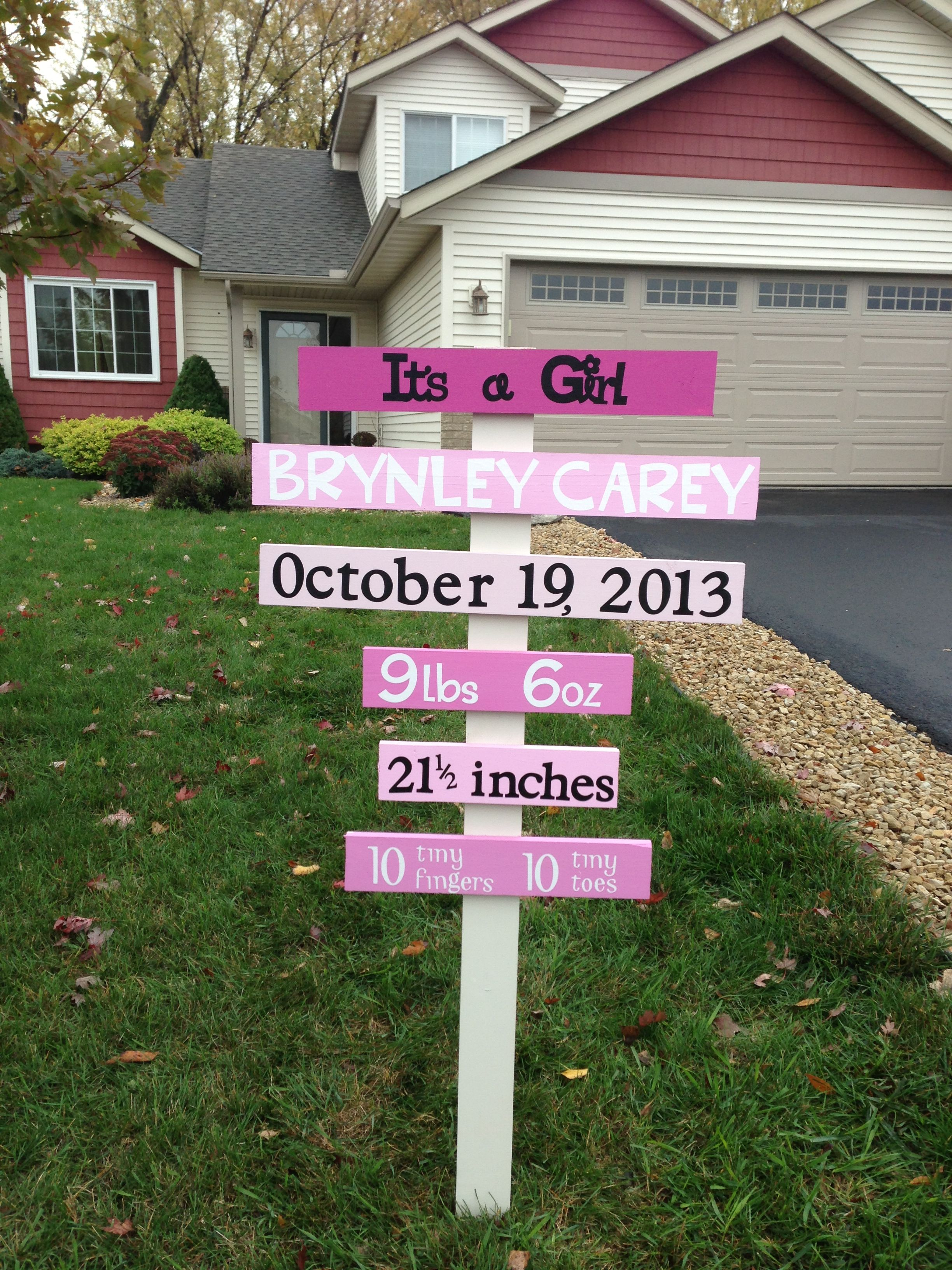 Baby announcement yard sign Thanks to Pinterest for this cute – Baby Announcement Lawn Signs