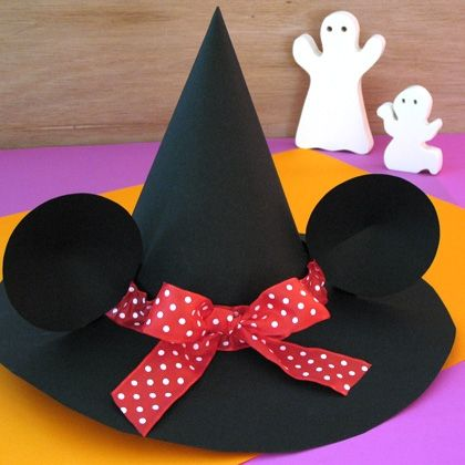 Minnie's Witch Hat - from posterboard & ribbon - complete tutorial /v