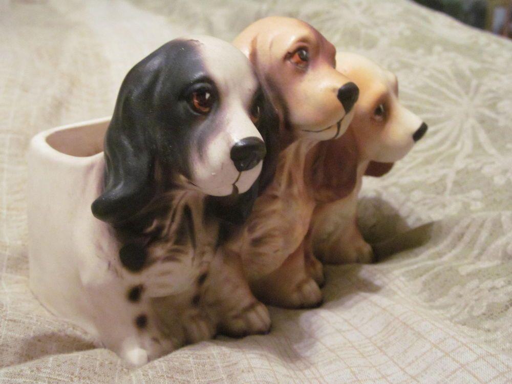 Vintage 3d Figurine 3 Adorable Cocker Puppy Dogs Planter Home