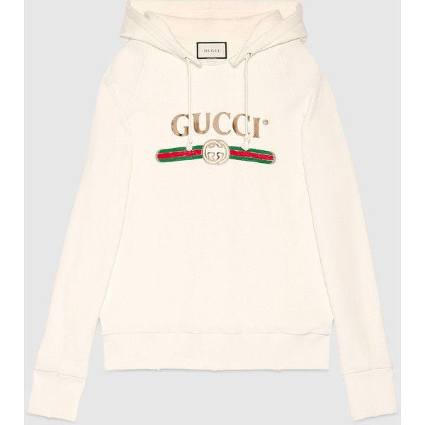91a1300754c Gucci Embroidered Hooded Sweatshirt featuring polyvore