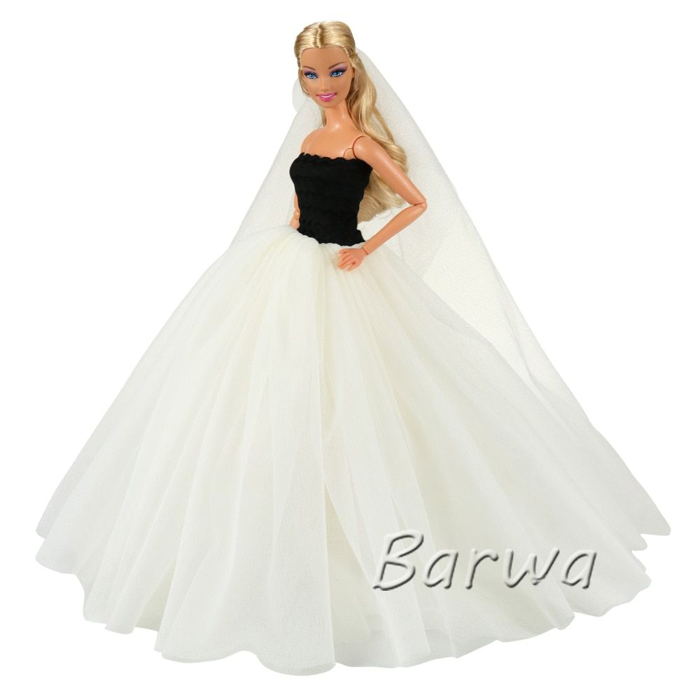 e3dbe0a59c8afa Doll China Clothes Skirt Dressing Dress Birthday Party Princess For barbies  Toys Wedding White Costume Girls Dresses Summer 2019.