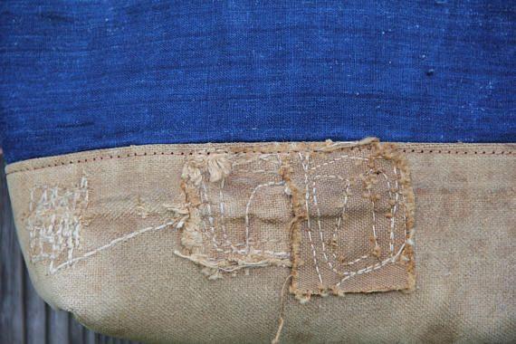 Dies ist eine japanische Boro Tasche, aus Vintage japanische schwer ...