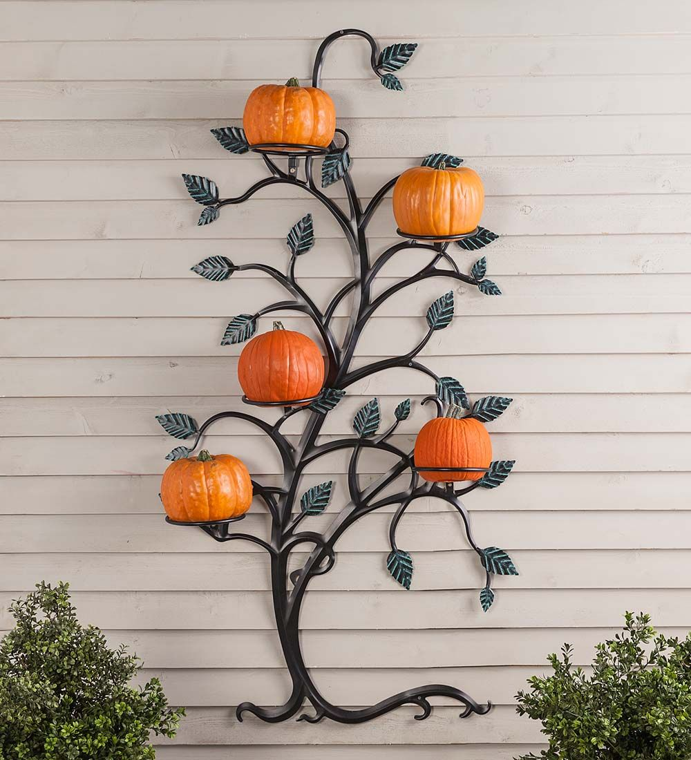 Here S A Trellis That Comes With Its Own Plant Display Our Hanging Tree Trellis With Pot Holders Is Artfu Metal Trellis Metal Tree Wall Art Hanging Plants Diy