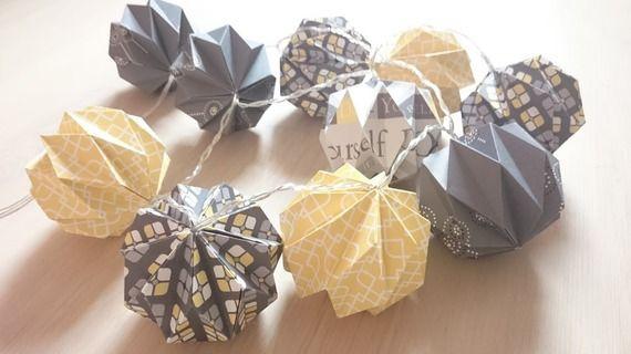 Guirlande lumineuse origami lampions Handmade Déco