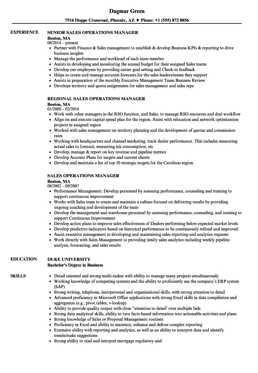 Sales Operations Manager Resume Samples Velvet Jobs with