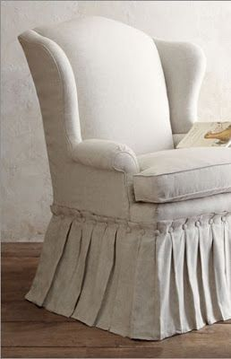 Willow Wisp Cottage Gorgeous Slipcover With Button U0026 Pleated Skirt On Wingback  Chair