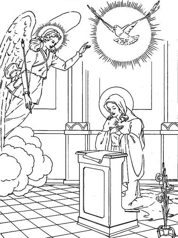Virgin Mary Angle Gabriel And The Pigeon Saints Day Coloring Page ...