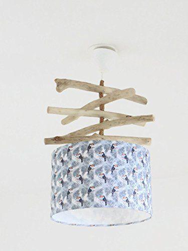 Lustre bois flotté abat jour cylindre 28 cm motif exotique toucans