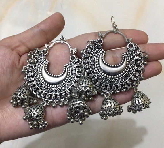 6fe6e8116 Oxidised Silver-Toned Afghani Chandbali Earrings with Jhumka Attachments |  Silver Chandelier Earring