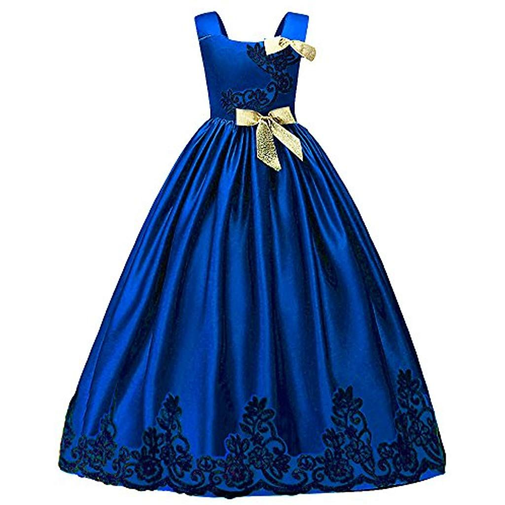 HUANQIUE Elégante Robe en Dentelle Princesse Demoiselle Fille Robe de Mariage  Cérémonie Soirée Enfant Broderie Fleur b5b05cf03e6