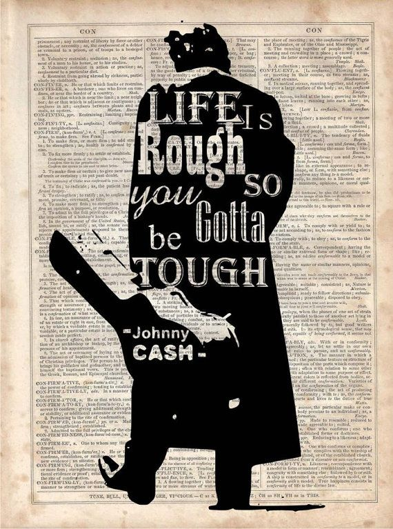 Johnny Cash Life is Rough Vintage Dictionary by ...