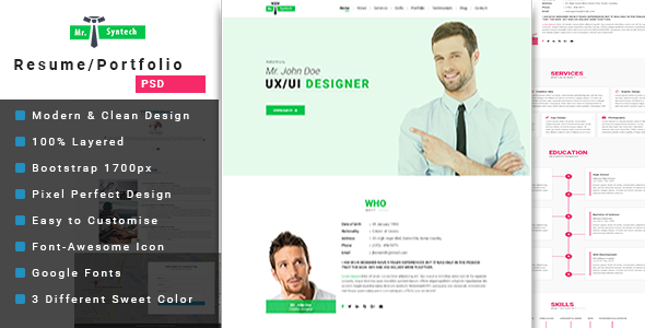 Resume Website Template Mrsyntech  Cvresume Psd Template  Psd Templates Online Cv And