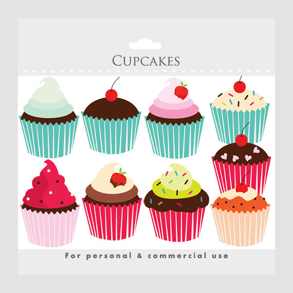 Cupcakes clipart - cupcake clip art, digital clipart for ...
