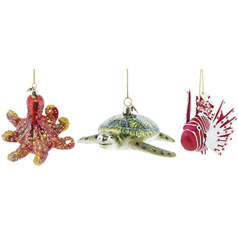 3 Piece Kurt Adler Noble Gems Glass Under the Sea Ornament 3 Piece