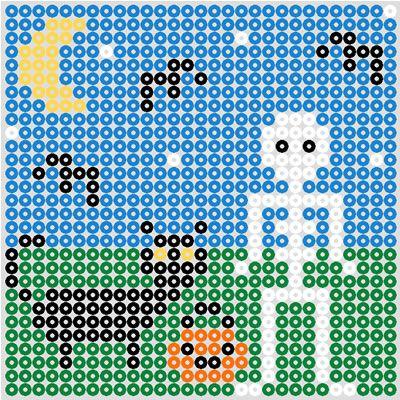 Free printable Hama Bead Halloween design.