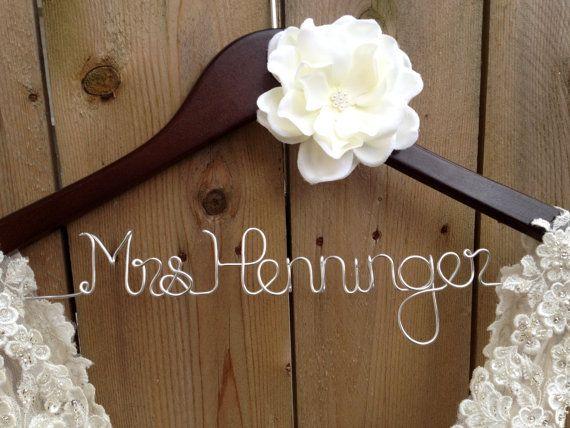 Wedding Dress Hanger, Bride Hanger, Last Name Hanger, Mrs Hanger ...