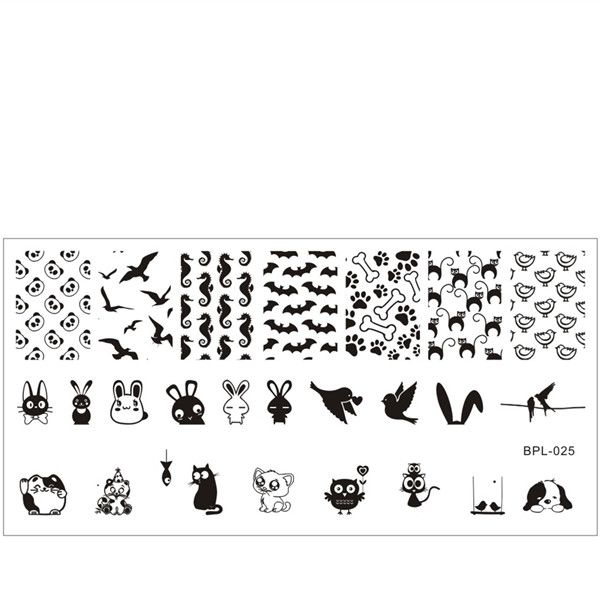 Animal Theme Nail Art Stamp Template Image Plate Born