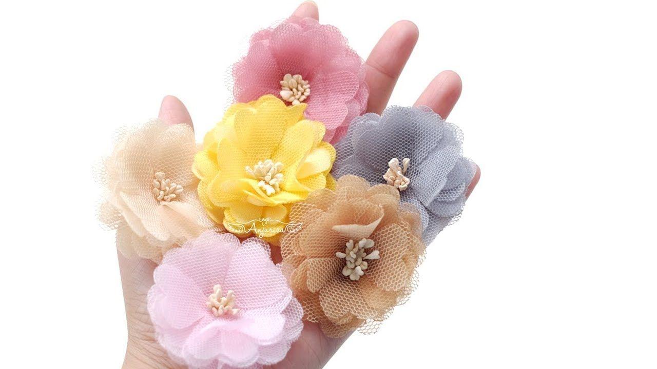 DIY Baby Headbands Sash Flower Rustic Peach Eyelet Fabric Flower Bridal Wedding Bouquet Fabric Chiffon Flowers Big Chiffon 3.5/'/' Flower