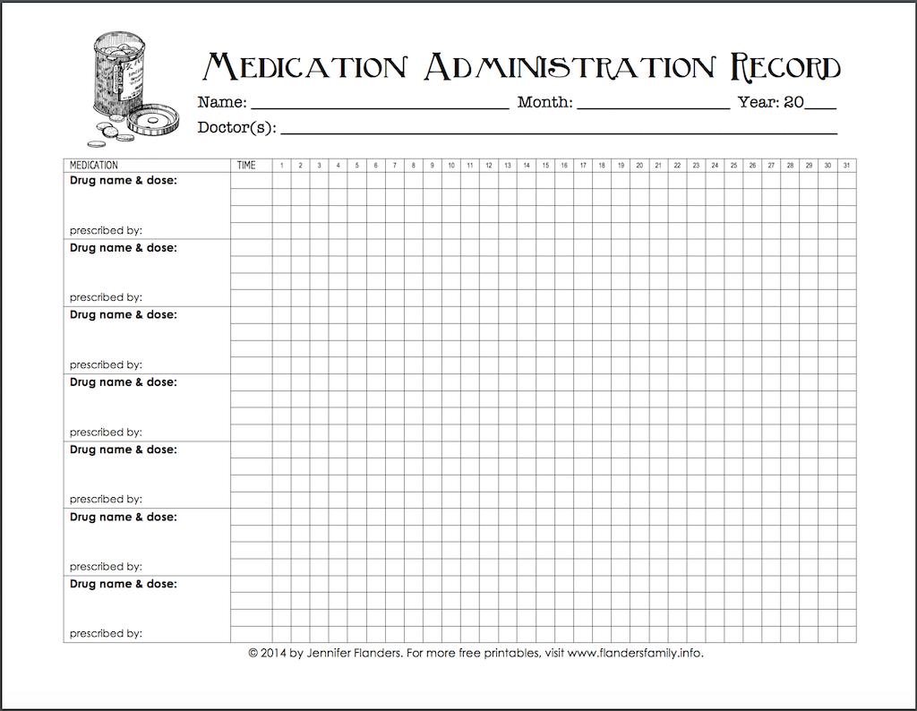 Medication Administration Chart Medication Log Medicine