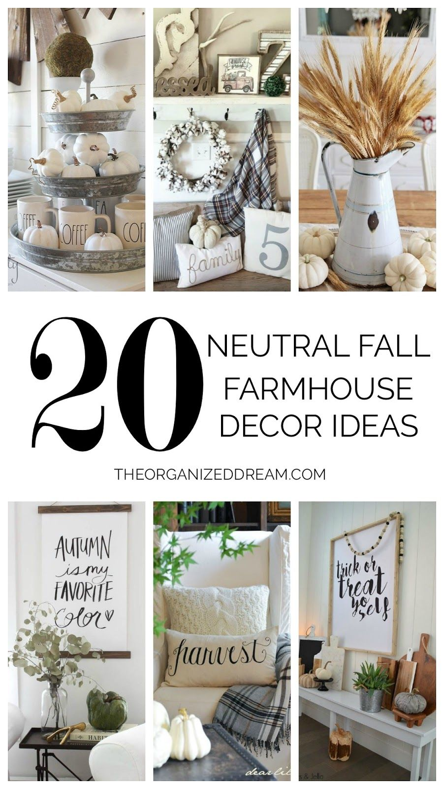 20 Neutral Fall Farmhouse Decor Ideas | Home Decor | Pinterest ...