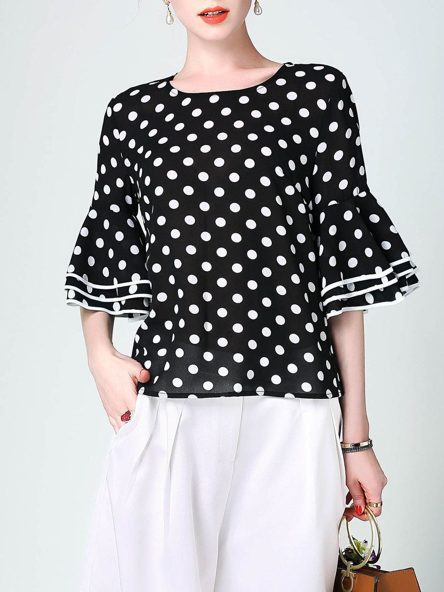 01deab64e7eb74 Shop Blouses - Black H-line Bell Sleeve Polka Dots Blouse online. Discover  unique designers fashion at StyleWe.com.