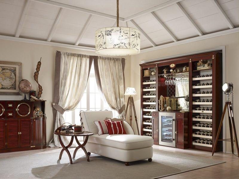Weinregal im Wohnzimmer - Einrichtung im Kolonialstil - wohnzimmer ideen kolonial