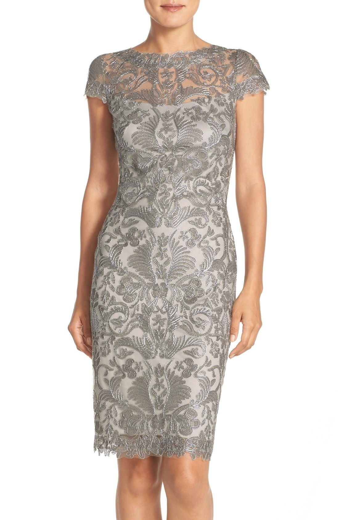 Cocktail length short gray lace dress for Mother-of-the-Bride ...