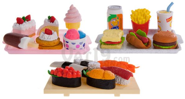 japanese food erasers are available in dessert fast food and sushi sets