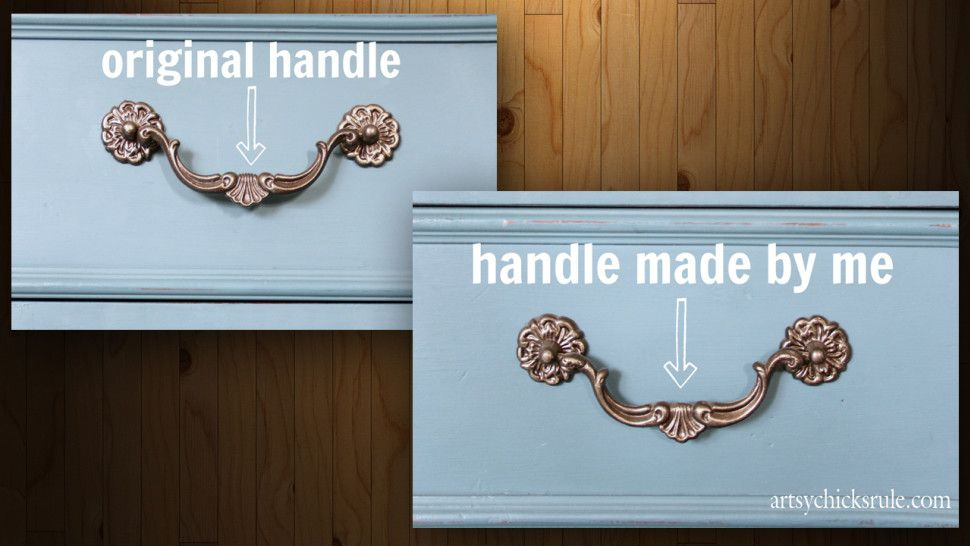 mold your own handles to replace broken or missing cabinet