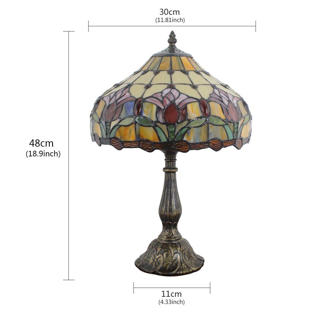 Kunstvolle Tischleuchte Tiffany Stil Floral Design D30cm 1 Flammig