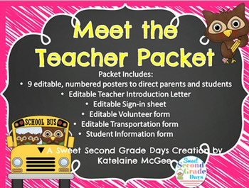 Looking for a quick and easy set up for your Meet the Teacher night? You have come to the right place! This packet I have created includes everything that I need for the night I (finally!) meet my new kiddos. Packet includes:-9 Editable posters to direct students and parents when they come to your classroom-Editable Teacher Introduction Letter-Editable Sign-in sheet-Editable Volunteer form-Editable Transportation form-Editable Student Information form-ALL FORMS AND POSTERS COME IN COLOR AND…