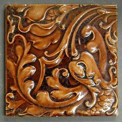 Craven Dunnill And Co Relief Moulded Dust Pressed Tile With An Allover Floral Pattern Brown Glaze 6 Squ Ceramic Tile Art Art Nouveau Tiles Art Nouveau Decor