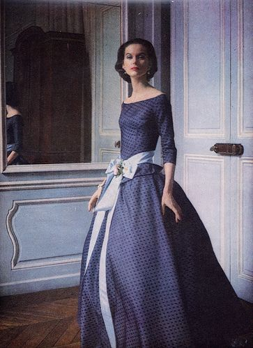 I am dying, the neckline alone is fabulous! 1955 Blue Gown Vogue