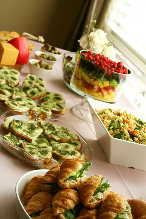 bridal shower brunch ideas cucumber sandwiches tuna croissants pasta salad fruit salad cheese
