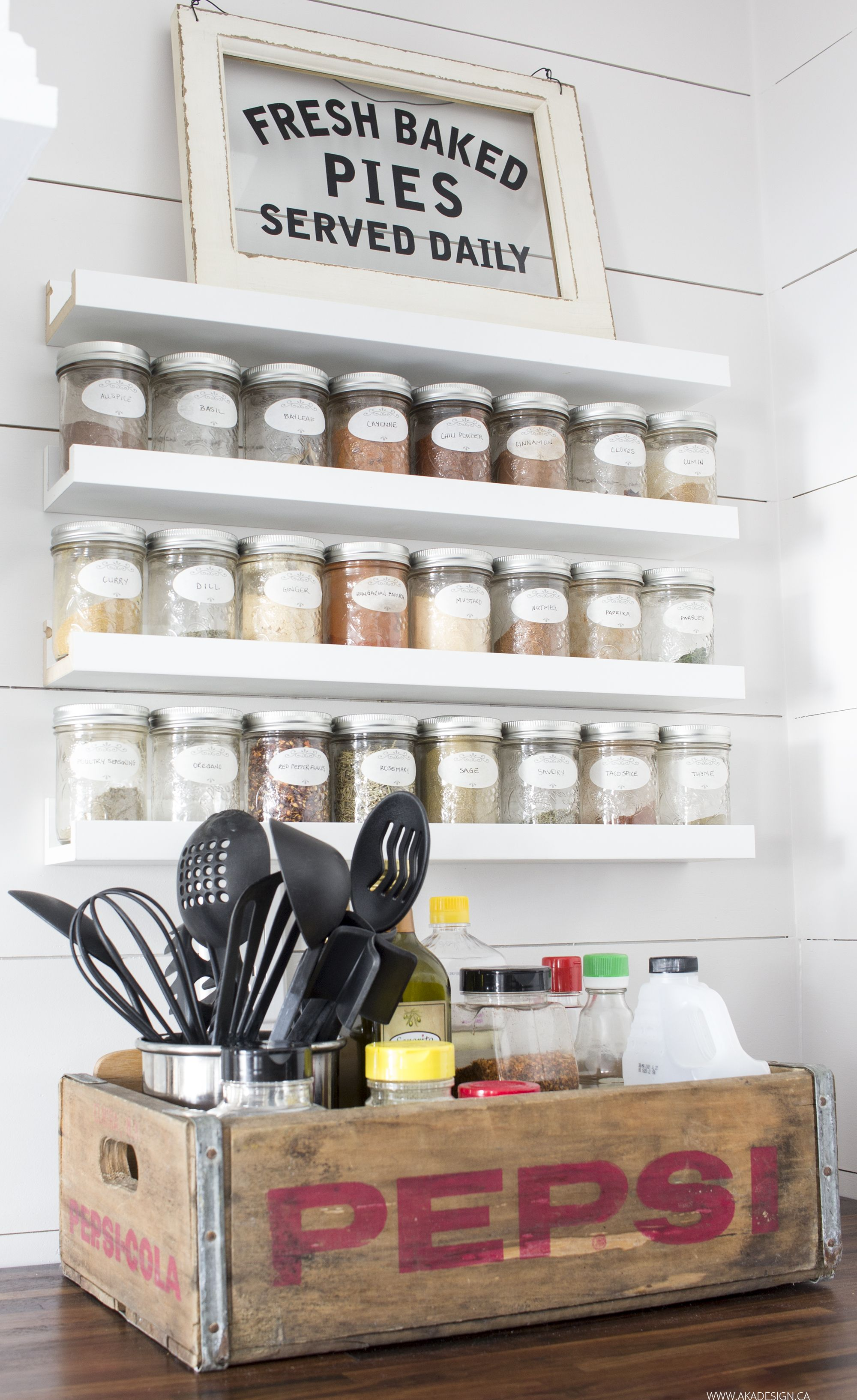 OUR MODERN FARMHOUSE KITCHEN MAKEOVER | Spice rack storage, Pepsi ...
