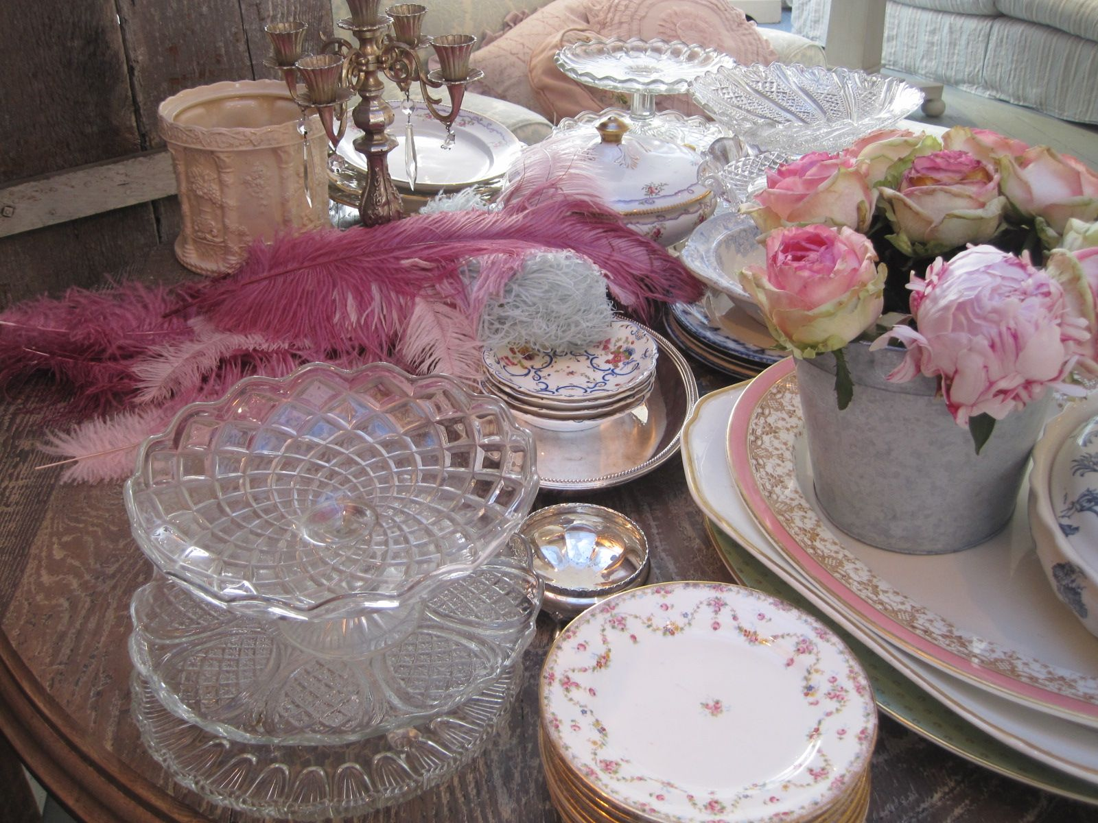 getting ready for tea time with peonies and vintage china