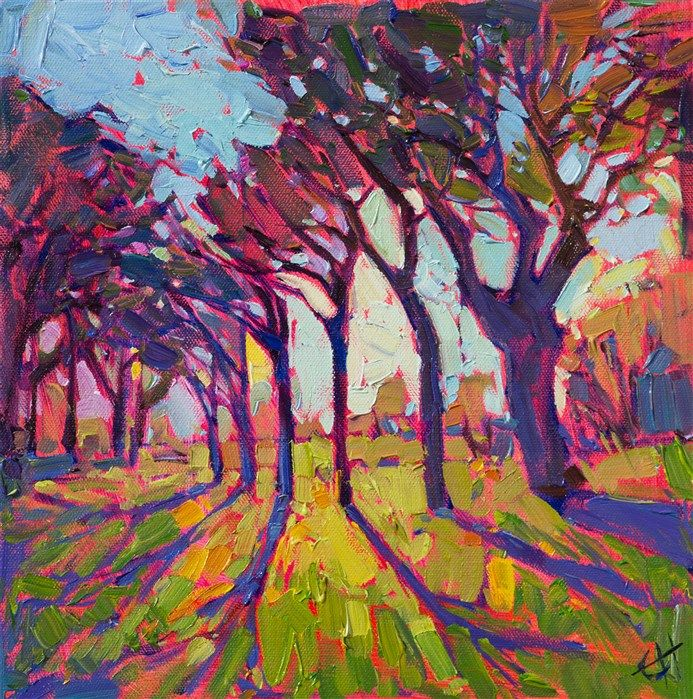 Stained Glass, original 12x12 oil painting by Erin Hanson