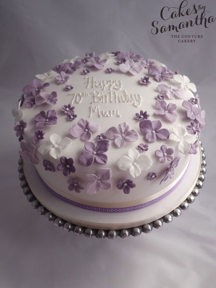 Outstanding 70Th Birthday Cake With Purple Flowers 90Th Birthday Cakes Funny Birthday Cards Online Elaedamsfinfo