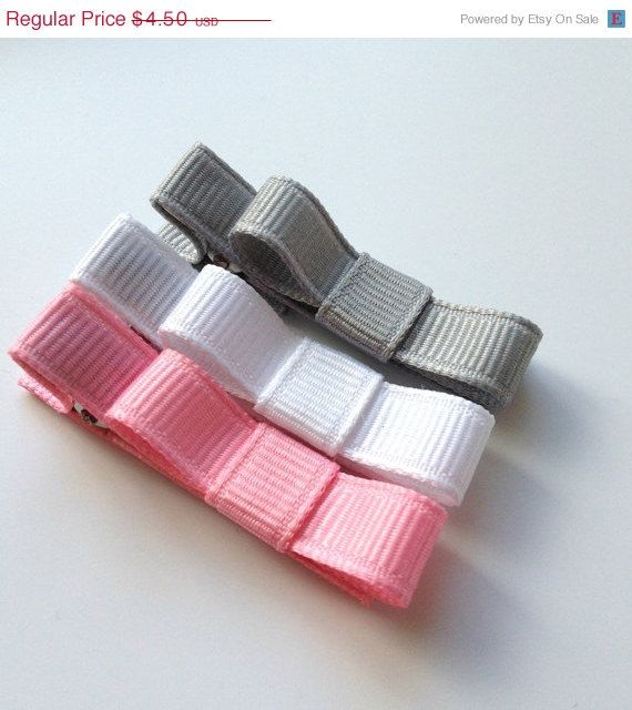 Baby Hair Clip- Alligator Clip - Grey, White, Pink - Non Slip Grip -Girls, Babies, Toddlers-Shy Smile Collection #babyhairaccessories
