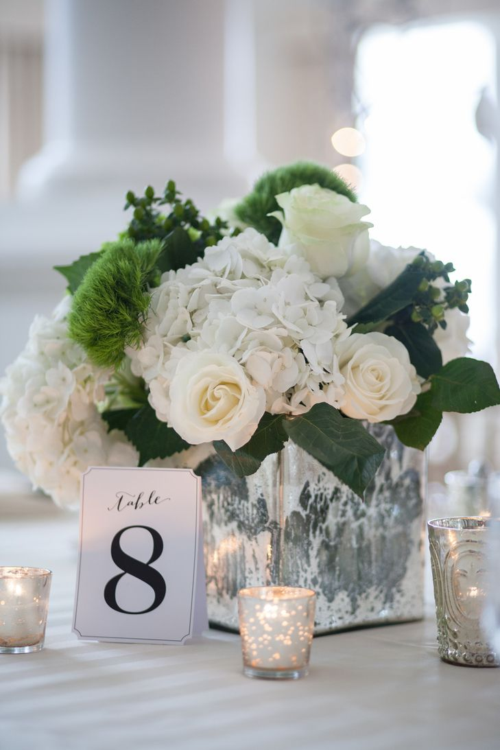 Wintry White Rose And Hydrangea Centerpieces Centerpieces