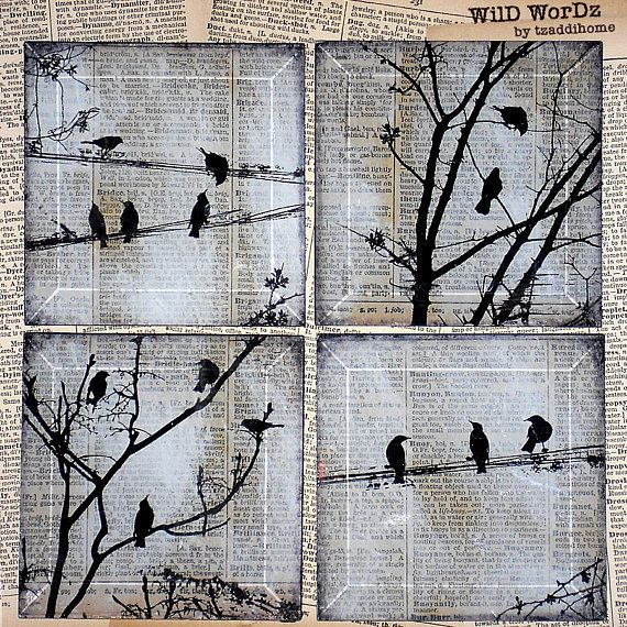 Black Bird Handmade Glass Coaster Set  from Upcycled Dictionary page book art  - WilD WorDz - Carriers of the Word #mugsset
