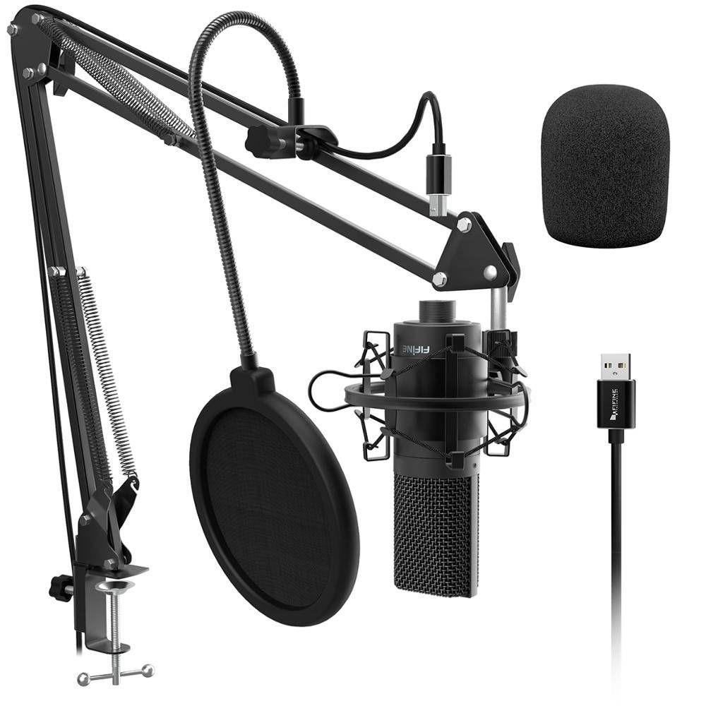 Fifine Usb Pc Condenser Microphone With Adjustable Desktop Mic Arm Shock Mount For Studio Record In 2020 Adjustable Desktop Microphone Youtube Microphone
