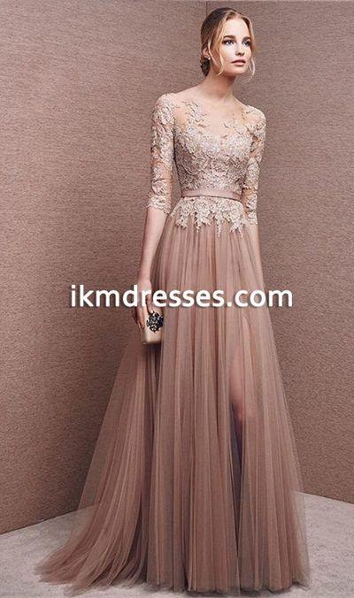 Summer+Sweet+16+A-Line+Appliques+Scoop+Lace+Prom+Dresses+Fantastic