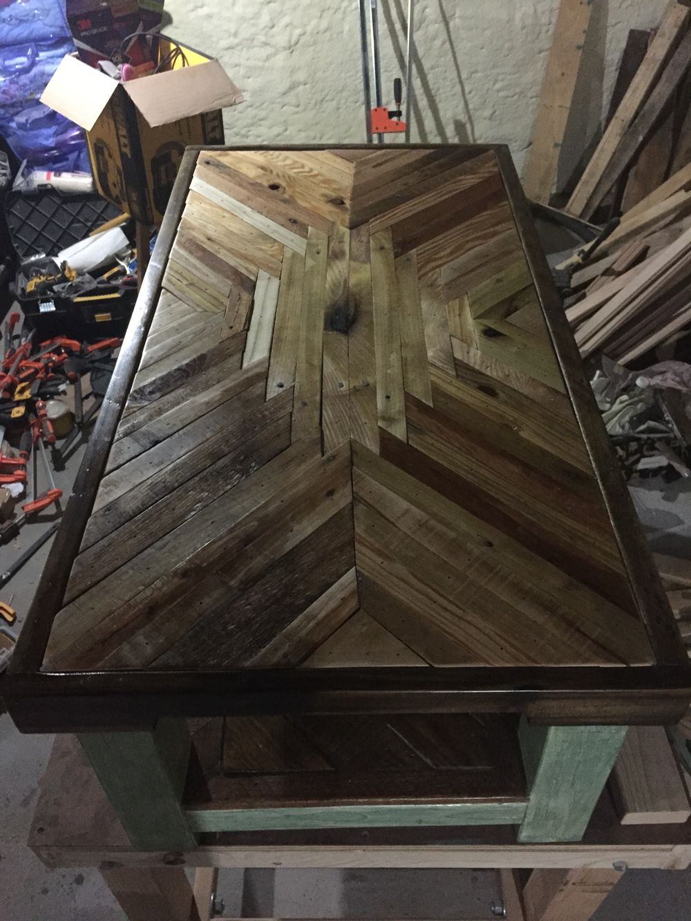 Pallet coffee table Native American inspired pattern