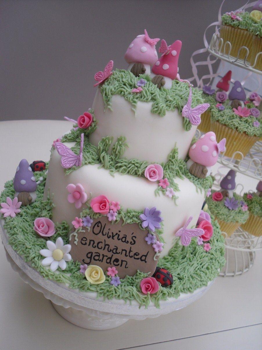 Mushroom butterfly grass fairy enchanted cake cake for Fairy garden birthday cake designs