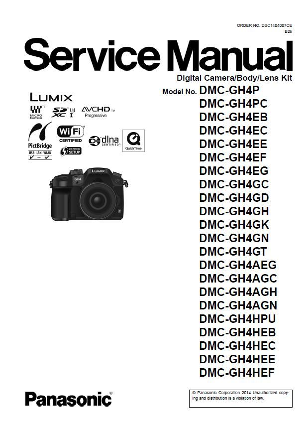 Panasonic Lumix DMC GH4 GH4A GH4H Camera Service Manual