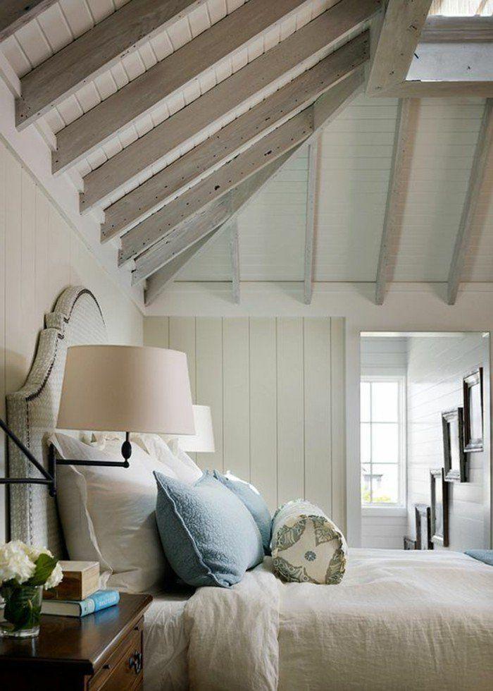 schlafzimmer landhausstil elegantes bettkopfteil dachschr ge helles ambiente illusionen. Black Bedroom Furniture Sets. Home Design Ideas