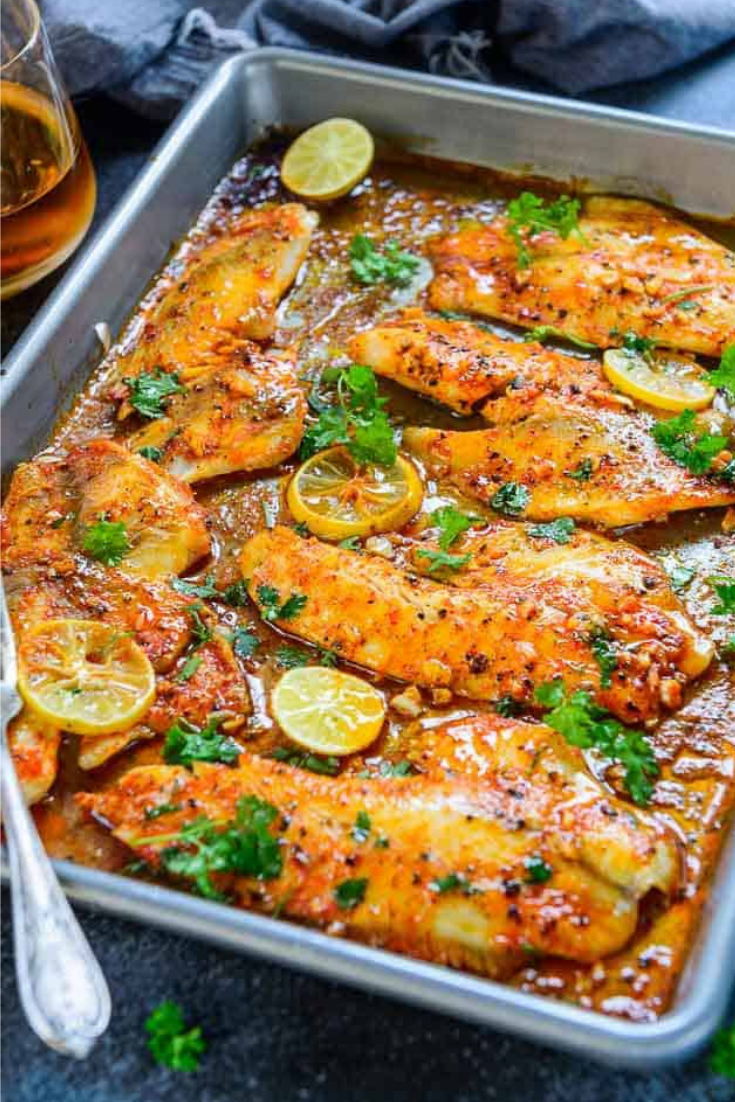 Spicy Lemon Garlic Baked Tilapia Fillet Fish Recipes Healthy Baked Tilapia Fillets Baked Tilapia Recipes